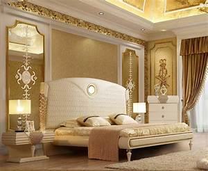 Luxury, King, Bedroom, Set, 3, Pcs, Cream, Leather, Contemporary, Homey, Design, Hd