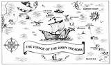 Treader Dawn Narnia Voyage Map Chronicles Coloring Got Mystery Fantasy sketch template