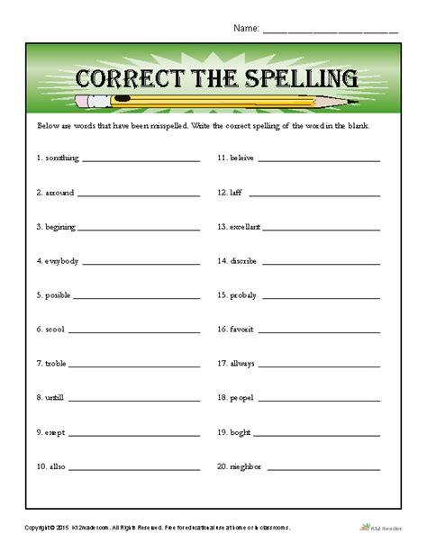 correct  spelling spelling worksheets spelling words
