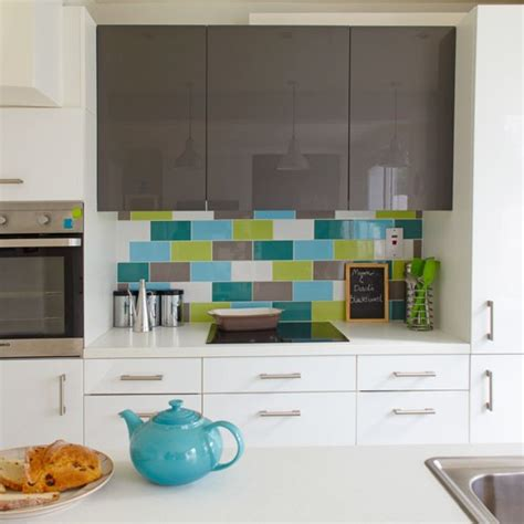kitchen splashback ideas uk green and blue metro tile splashback practical kitchen