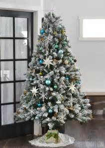 our teal green silver and white vintage inspired flocked tree the diy