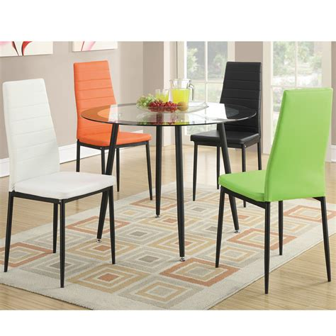 4 Pc Modern Dining Chairs Set Vibrant Faux Leather Chairs