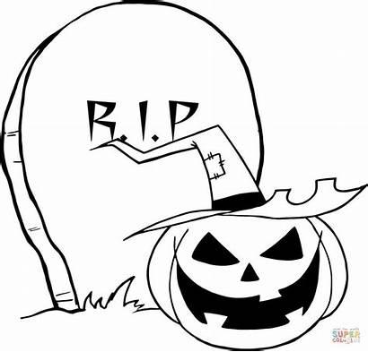 Coloring Gravestone Jack Pumpkin Pages Lantern Cartoon