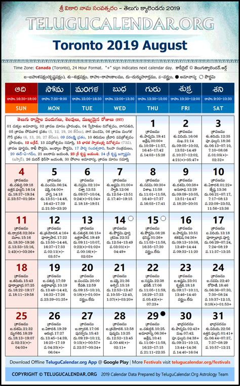 toronto telugu calendars  august festivals
