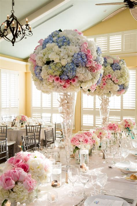 towering blue hydrangea pink rose centerpieces