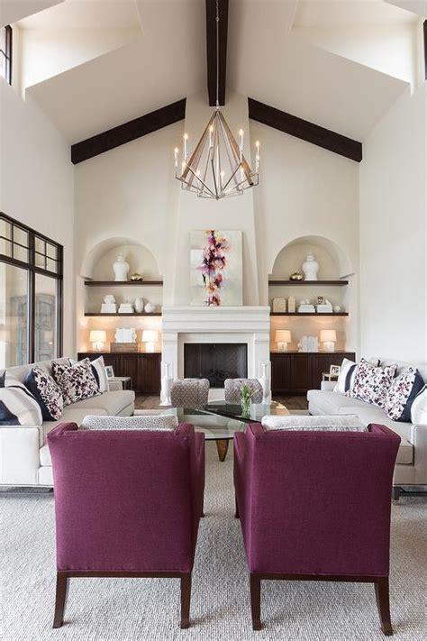 light gray sofas  purple chairs transitional