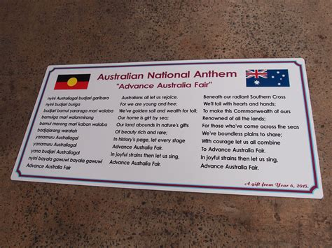 school song signs national anthem signs custom   sydney