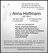 Traueranzeigen von Anna Hoffmann   Aachen gedenkt