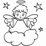 Angel Coloring Pages Printable Colouring Christmas Clipart Cartoon sketch template