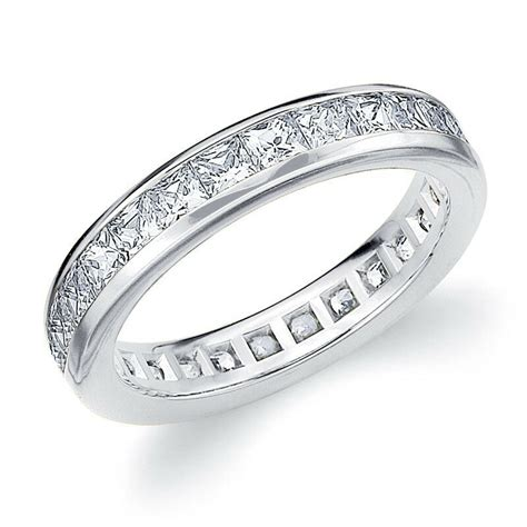 diamond eternity band wedding ring princess square cut 14k