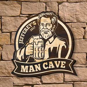 Mighty, Man, Cave, Personalized, Wooden, Sign, Signature, Series