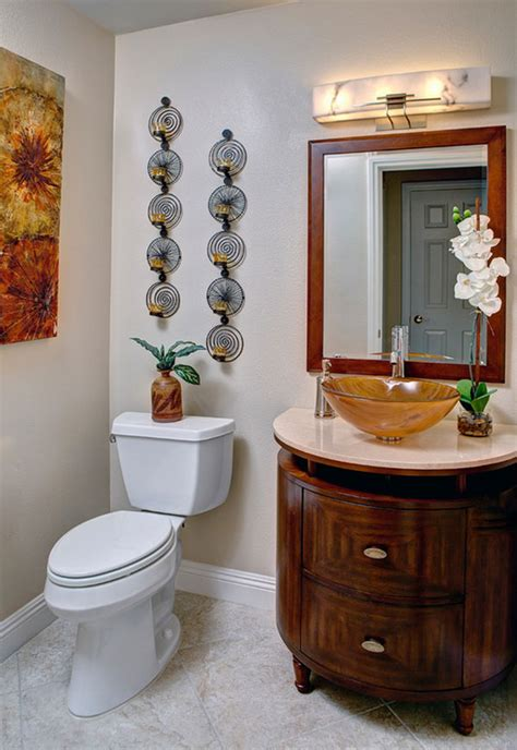 Common bathroom wall decorating ideas include mirrors, baskets, and pictures. 19 Eclectic Bathroom Wall Decor Ideas | Interior God