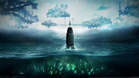 city  water digital wallpaper bioshock tower