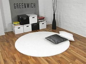 Hochflor Teppich Weiß : teppich hochflor shaggy premio weiss rund in 7 gr en ebay ~ Watch28wear.com Haus und Dekorationen