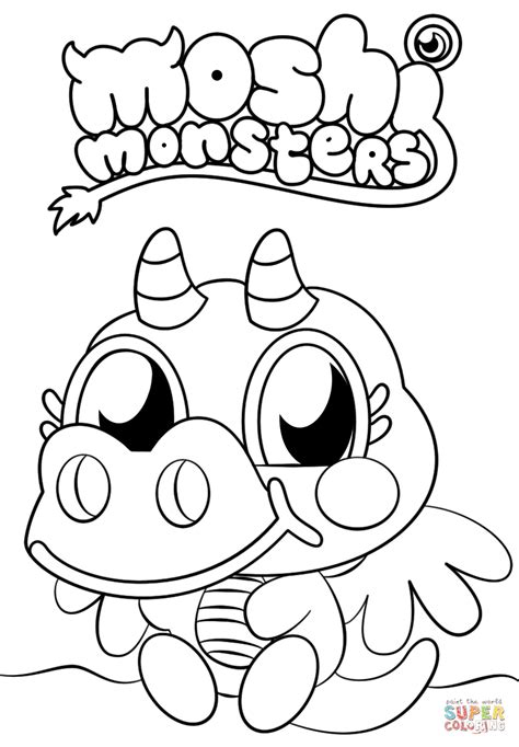 Moshi Monsters Burnie coloring page Free Printable