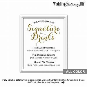 gold wedding signature drink sign printable 2534323 With wedding drink menu template free