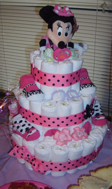 mini mouse diaper cake Diaper Cakes and Baby Shower