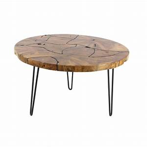 19 in x 32 in rustic iron and teak wood round brown for Rustic dark brown coffee table
