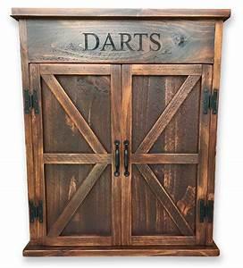 Premium Reclaimed Wood Dart Board Cabinet Rustic Wall Co