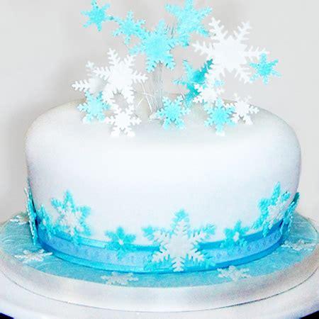 blue  white snowflake christmas cake
