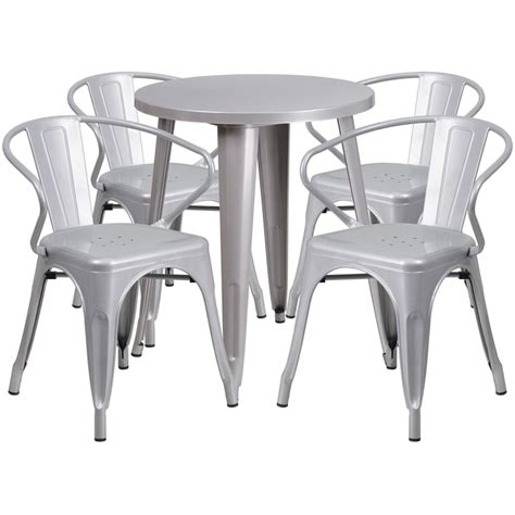 24 silver metal indoor outdoor table set with 4