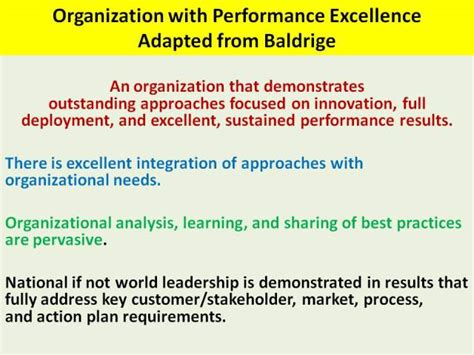 Parameters Of An Organization With Performance Excellence