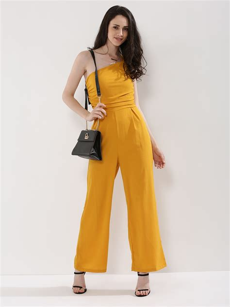 womens yellow jumpsuit buy oliv one shoulder jumpsuit for 39 s yellow