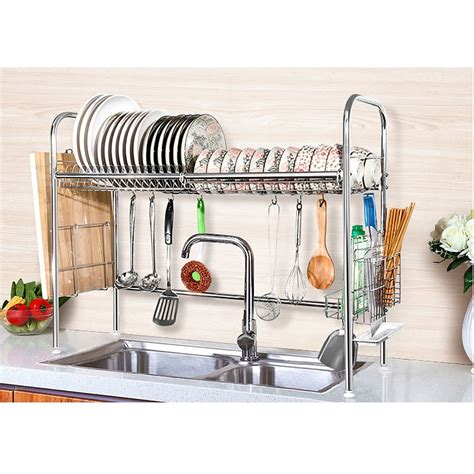 kitchen dish rack ideas 2 tier shelf stainless steel dish bowl drying rack
