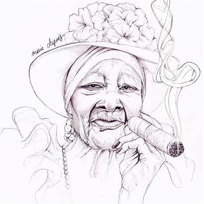 Illustration Drawing Cigar Lady Pencil Woman Cuba