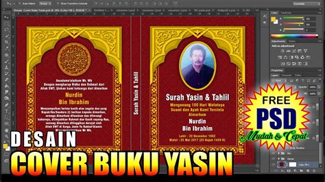 desain cover buku yasin  photoshop tutorial