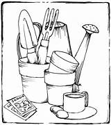 Tools Gardening Coloring Printable Drawing Colouring Adult Drawings Sheets Kitchen Pots Rocks Adults Draw Outline Stamps Beccysplace Yard Template Beccy sketch template
