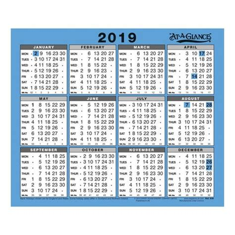 glance walldesk calendar year view gloss board binding
