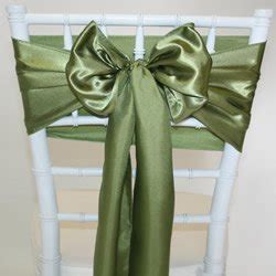 olive green satin sash chair cover bow tie for wedding and