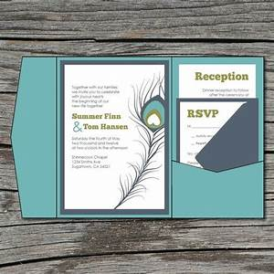 wedding invitation diy pocketfold peacock feather With peacock pocketfold wedding invitations