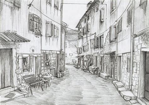 historical street wallpaper hand drawn pencil sketch