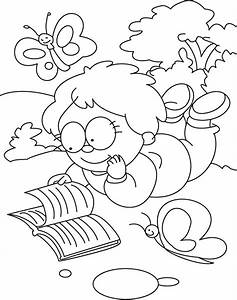 Free coloring pages of child reading