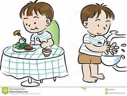 Wash Before Clipart Eat Hands Children Illustration