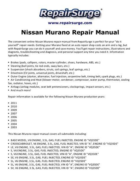 free online car repair manuals download 2003 nissan pathfinder security system nissan murano repair manual 2003 2011