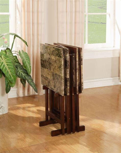 Amazon.com: Linon Home Decor Tray Table Set, Faux Marble