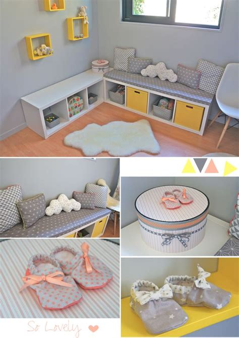 chambre bébé jaune nursery baby room in yellow grey coral chambre
