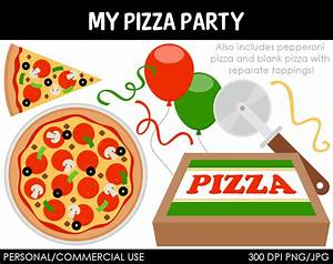 Pizza Party Clipart Digital Clip Art Graphics by MareeTruelove