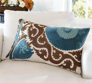 ellie suzani applique embroidered lumbar pillow cover