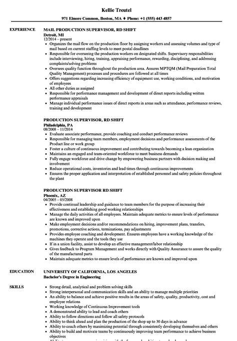 Food Production Supervisor Resume by Production Supervisor Description For Resume