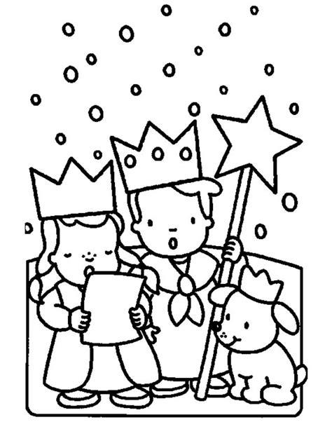 Kerst Kleurplaat by Kleuren Nu Zingende Kindjes Voor Kerst Kleurplaten