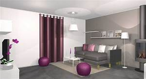 charmant mur violet et gris et deco salon moderne violet With decoration salon mauve et gris