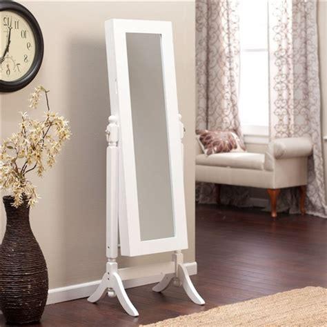 white full length tilting cheval style floor mirror