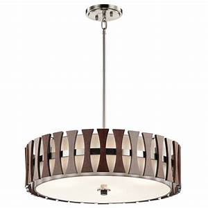 Retro drum pendant lighting : Kichler aub cirus modern auburn stained drum pendant