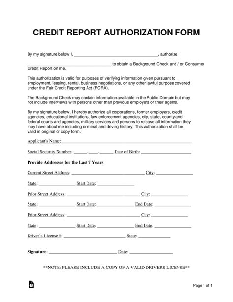 credit report authorization consent form word