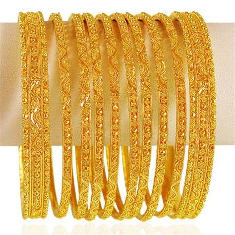 22kt gold bangles ajba62827 traditional 22kt gold bangles 10pcs desinged