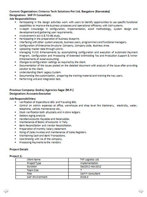 Sap Sd Consultant Resume India by Sap Fi Consultant Resume India